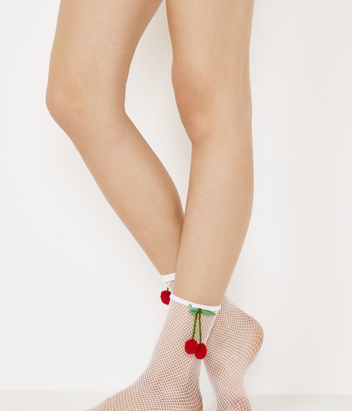 Cherry Fishnet Ankle Highs