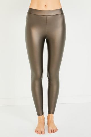 Leather Look Thermal Tights