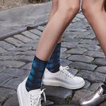 Line Silver Socks
