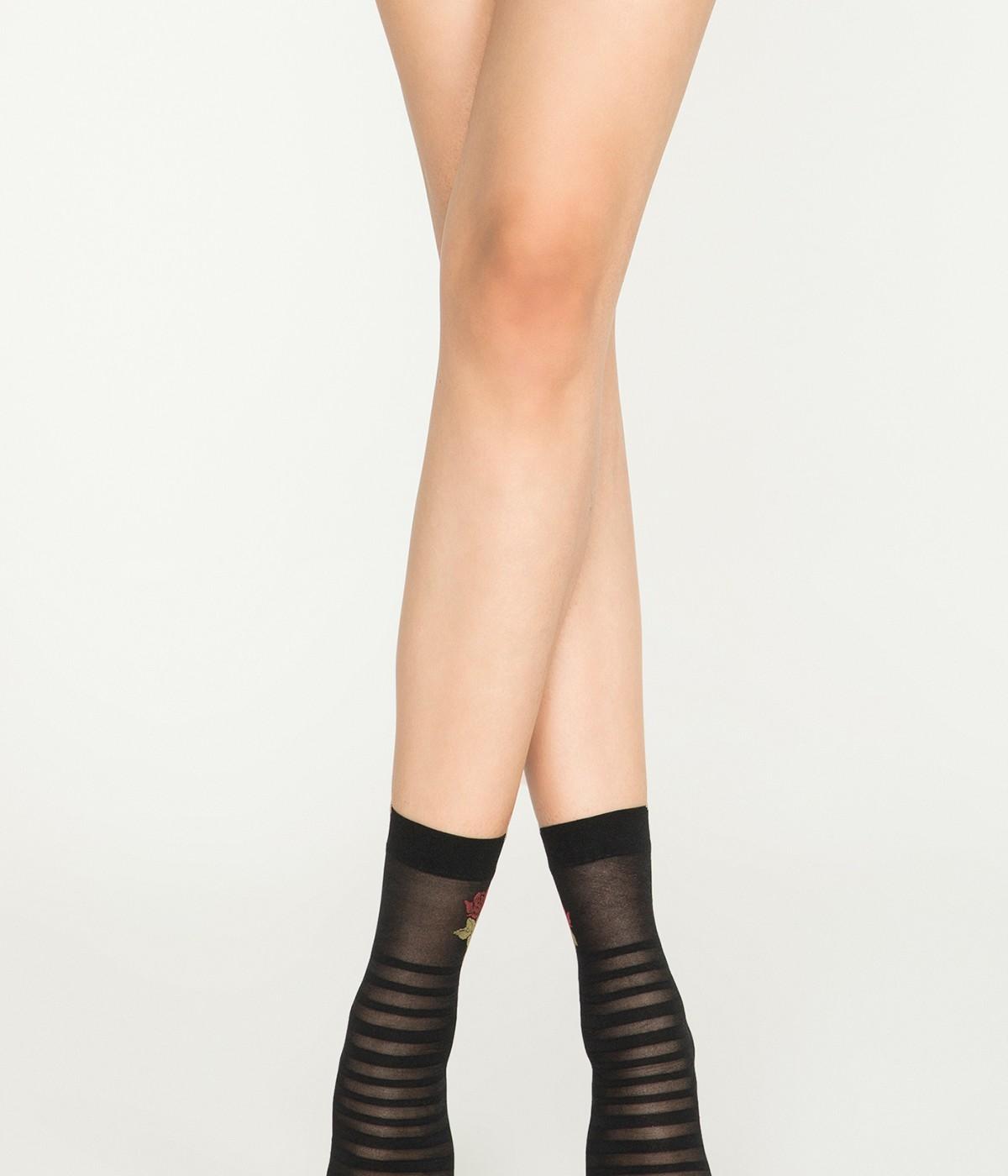 Stripe Rose Socks