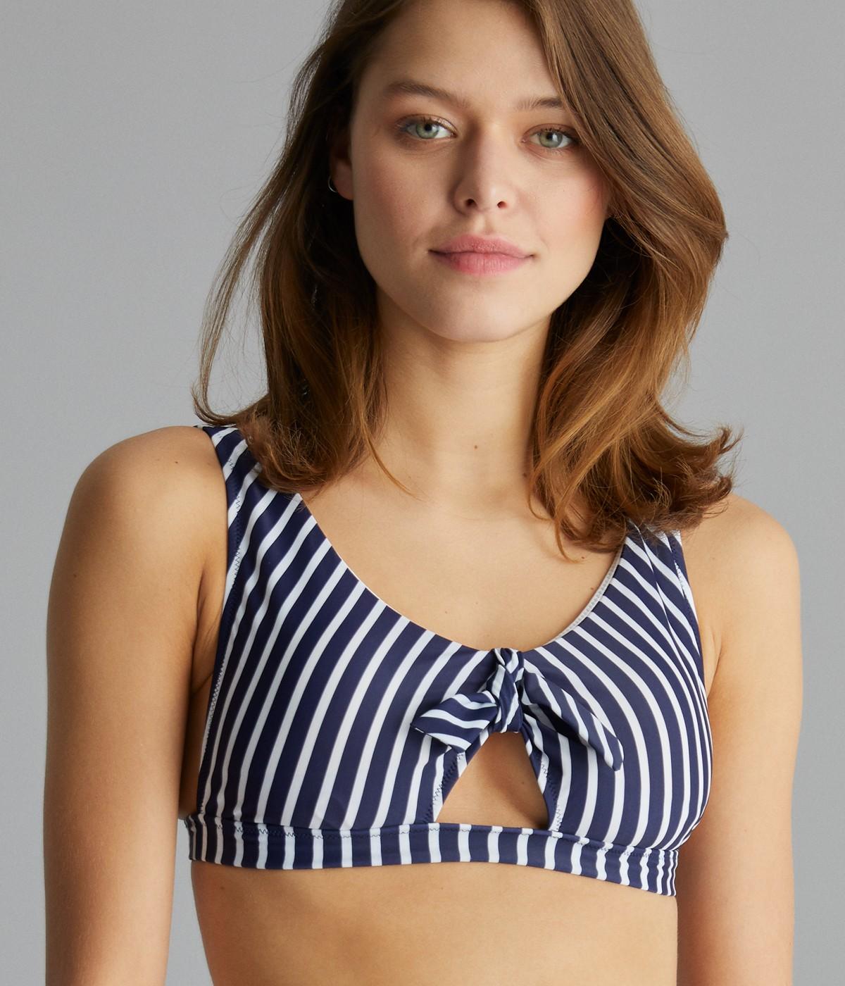 Block Deep V Bikini Top
