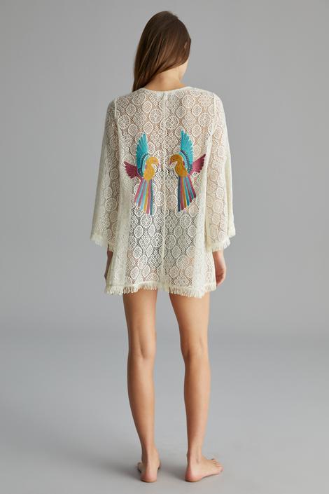 Tropic Back Embroidery Kimono