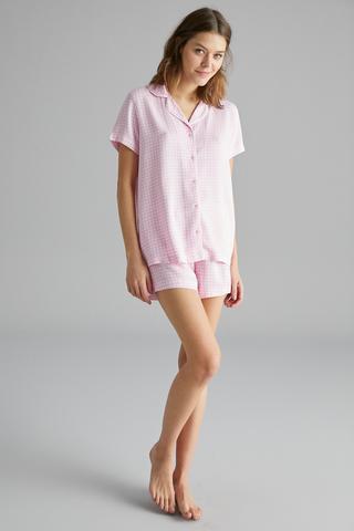 Set Pijama Cu Cămașă Gingham Daisy