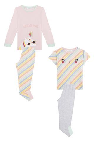 Set Pijama Fetițe Unicolor 4 Buc.