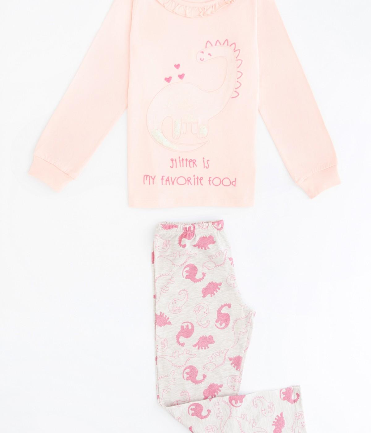 Set Pijama Feti?e Glitter Dino 2 Buc.