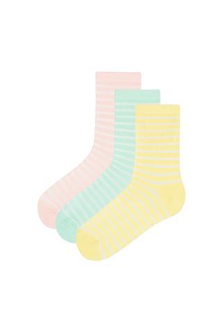 Girls Stripes 3 In 1 Socks