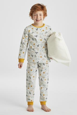 BOYS GREY TIGER 2LI PJ SET