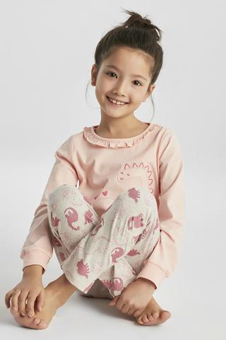 GIRLS GLITTER DINO 2LI PJ SET