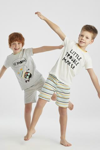 Set Pijama Baie?i Trouble 4 Buc.