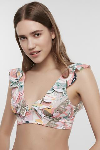 SOFT FLORAL DEEP FRILL TOP
