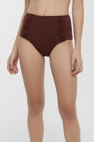 Basic Yüksek Bel Ruffle Chilot Bikini