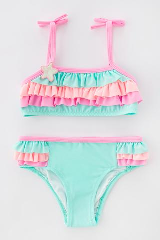 GIRLS COLORFUL FRILL BANDEAU BIKINI SET