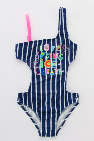 GIRLS STRIPED ARTWORK MONOKINI