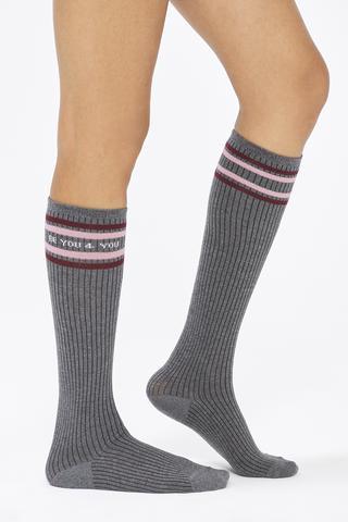 Bu4U Slogan Knee Socks