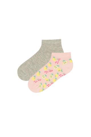 Girls Lemon 2 In 1 Liner Socks