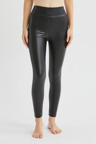 Leather Look Push Up Thermal Legging