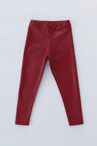 Girls Leather Look Thermal Legging