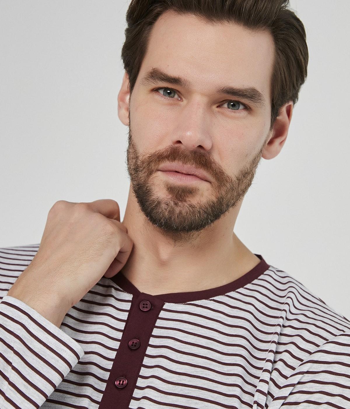 Set Pijama Burgundy Stripe