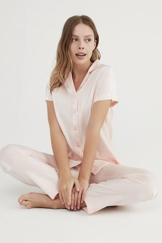 Pınk Satın Ss Gömlek Pant Set