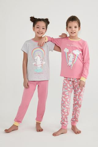 Set Pijama Girls Playful Unicorns 4 Buc