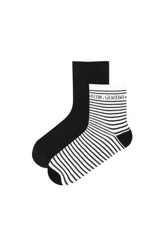Slogan Stripe 2In1 Socks