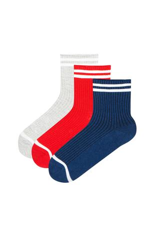 Stripe Rib 3In1 Socks