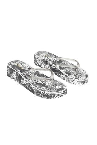 Papuci Shiny Leaves Wedge