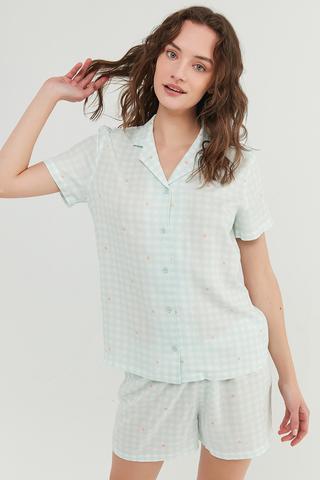 Set Pijama Floral Gingham