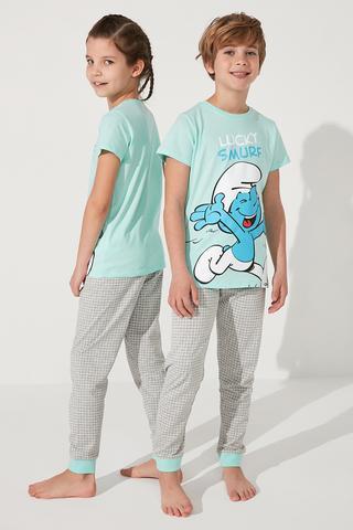 Set Pijama Unisex Lic Smurf 2Buc
