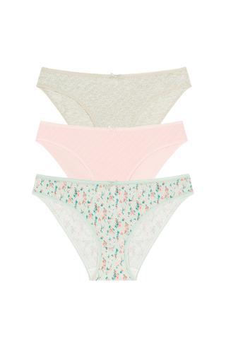 Soft Pointel Mint Floral 3buc Slip