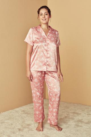 Set Pijama Nude Floral Satin