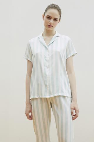Stripy Satin Shirt Set Pijama