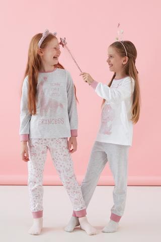 Set Pijama Fetițe Princess Dino 4 Buc